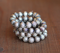 10mm Silver Plated Vintage Beads