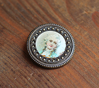 Antique French Portrait Button