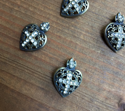 Rhinestone Ex Voto Heart in Aged Brass