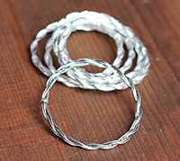Braided Wire Silver Bangle