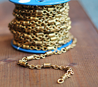 Vintage Brass Barrel & Cable Chain