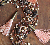 Brass Capped Tassel - Rose