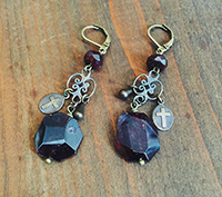 Bronze and Garnet Earrings