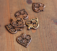 Carved Wooden Heart Pendant