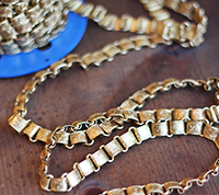 Vintage Chased Brass Book Chain
