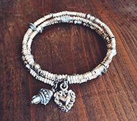 Silver, clay & vintage glass wrap bracelet