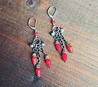 Silver & Coral Chandelier Earrings
