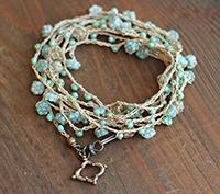 Crocheted Necklace Aqua Flower