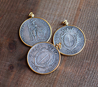 Crowned Swiss Franc Coin Pendant