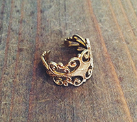 Vintage Solid Brass Filigree Ring Shank
