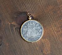 Crowned Fleur De Lis Coin Pendant - Gold