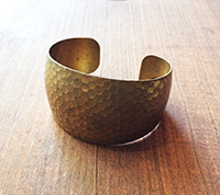 Solid Brass Hammered Cuff