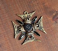 Ornate Maltese Cross Pendant, Bronze/Jet