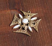 Ornate Maltese Cross Pendant, Gold/Chalk