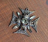 Ornate Maltese Cross Pendant, Bronze/Black Diamond
