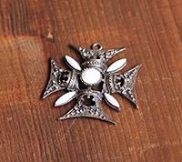 Ornate Maltese Cross Pendant, Silver/Chalk