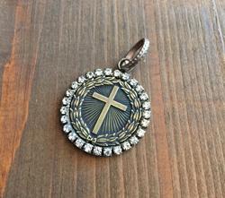 Rhinestone Bezeled Radiant Cross  Brass
