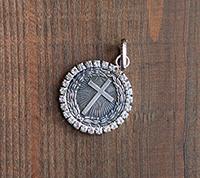 Rhinestone Bezeled Pendant Radiant Cross - Silver