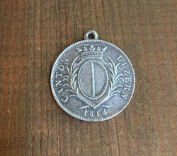 Swiss Franc Coin Pendant - Aged Silver Finish