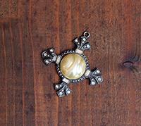Victorian Cross Pendant - Czech pearl focal
