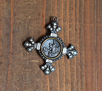 Victorian Cross Pendant - antique metal focal