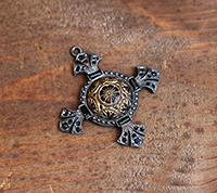 Victorian Cross Pendant - antique jet button