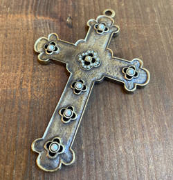 Colonial Revival Cross  Aged Brass, Pearl Accents