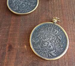 Belgian Franc Coin Pendant  Gold Setting