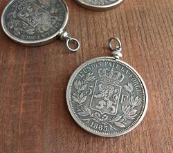 Belgian Franc Coin Pendant  Silver Setting