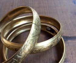Vintage Engraved Brass Bangle