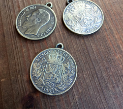 Belgian Franc Coin Pendant  Aged Brass Finish