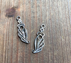 Vintage Sterling Filigree Plume Drops