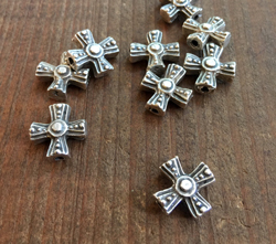 Cast Cross Bead in Aged Silver Finish