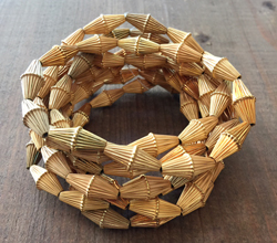 Vintage Corrugated Bicone Beads