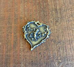 French Cherub Heart  Aged Brass Finish
