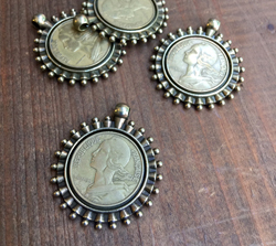 French Centime Coin Pendant