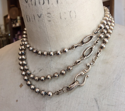 Georgian Ball Chain Rope  Aged Sterling Finish