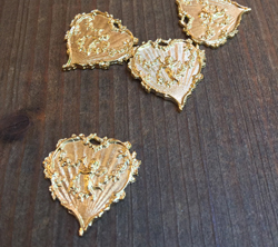 French Cherub Heart  Gold Finish