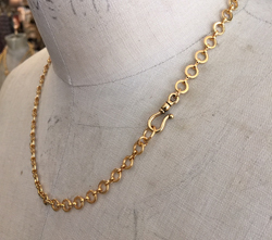 Vintage Brass Rondo Chain with Hook Closure - Gold Finish
