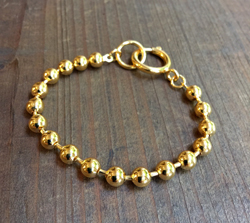 Vintage Ball Chain Bracelet  Russian Gold Finish