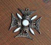Ornate Maltese Cross Pendant, Bronze/Chalk