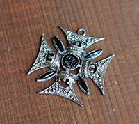 Ornate Maltese Cross Pendant, Silver/Jet