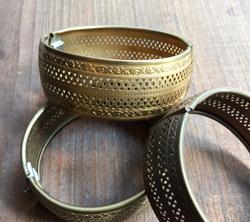 Vintage Pierced Brass Bangle