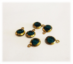 Vintage Round Emerald Lucite Drops