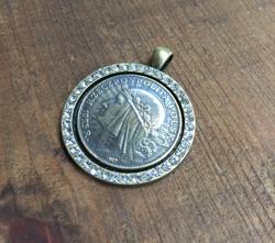 Rhinestone Bezeled Maiden Coin Pendant