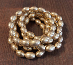 Vintage Satin Gold Oval Beads