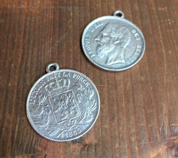 Belgian Franc Coin Pendant  Aged Silver Finish