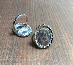 St. Anne de Beaupre Ring  Silver Setting, Brass Medal