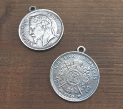 French Empire Coin Pendant  Aged Silver Finish