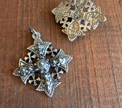 Jerusalem Cross in Aged Silver